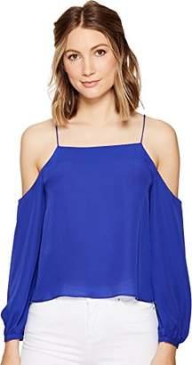 Nicole Miller Women's Silk GGT Cold Shoulder Spag Top