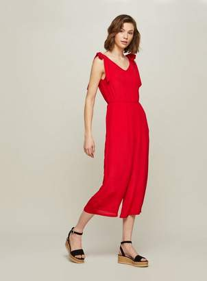 Miss Selfridge Red tie shoulder jumpsuit