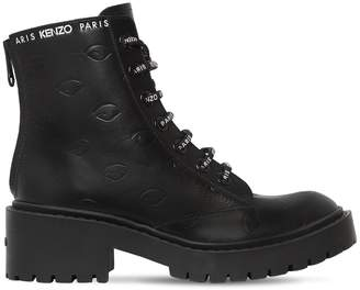 Kenzo 50mm Pike Logo Lace-Up Leather Boots