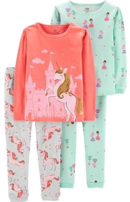 Carter's Child of Mine by Long sleeve cotton tight fit pajamas, 4pc set (toddler girls)