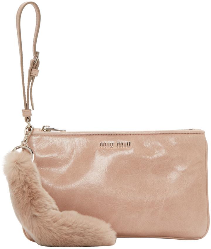 Miu MiuMiu Miu Pink Leather & Fur Pouch