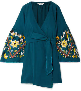 Sensi Studio - Embroidered Crinkled-cotton Wrap Dress - Teal