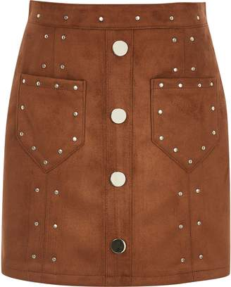 River Island Girls Brown faux suede studded skirt