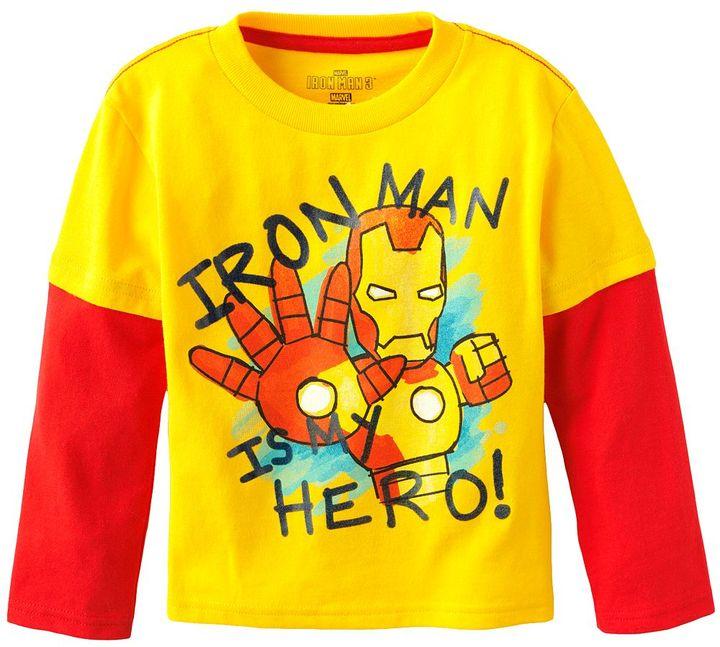 """Iron Man hero"""" graphic mock-layer tee - toddler"""