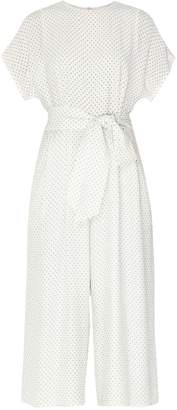 Paisie Cropped Polka Dot Jumpsuit With Belt Tie (With Self Belt) In White & Black