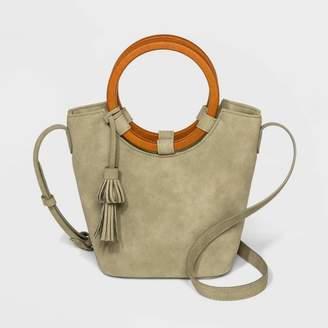 Universal Thread Wood Handle Bucket Crossbody Bag