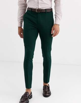 Design DESIGN wedding super skinny suit trousers in forest green micro texture