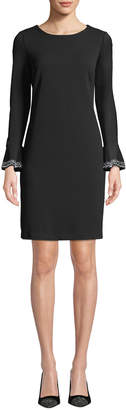Neiman Marcus Stretch Sheath Dress with Diamond Detailing