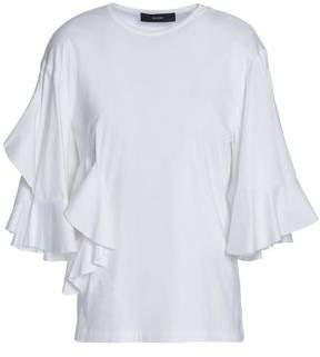 Ellery Jeremiah Cutout Ruffled Cotton-Jersey T-Shirt