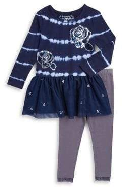 Flapdoodles Little Girl's Two-Piece Tie Dye Dress and Leggings Set