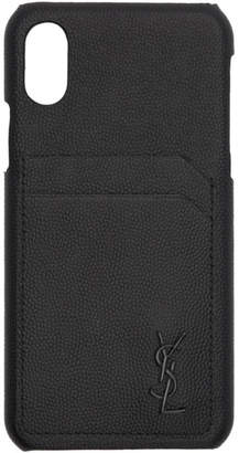 Saint Laurent Black Leather Monogramme iPhone 10 Case