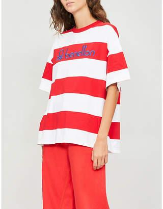 Benetton Unisex logo-embroidered striped cotton-jersey T-shirt