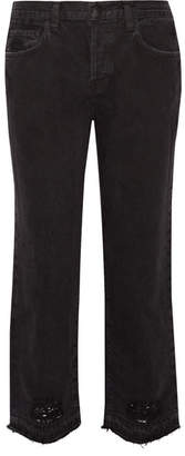 J Brand - Ivy Cropped Distressed High-rise Straight-leg Jeans - Black $230 thestylecure.com