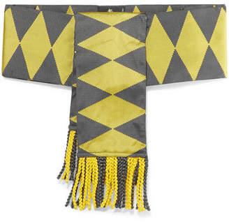Etro Fringed Silk-jacquard Belt - Yellow