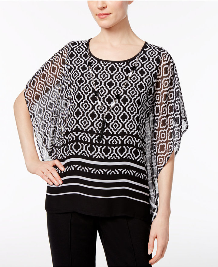 Alfred DunnerAlfred Dunner Petite Medallion-Print Top with Necklace