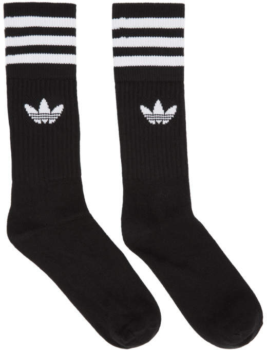 Three-Pack Black Solid Crew Socks