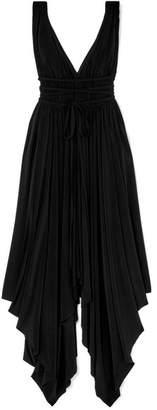 Norma Kamali Goddess Ruched Stretch-jersey Midi Dress - Black