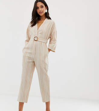 NATIVE YOUTH relaxed jumpsuit in linen stripe with buckle