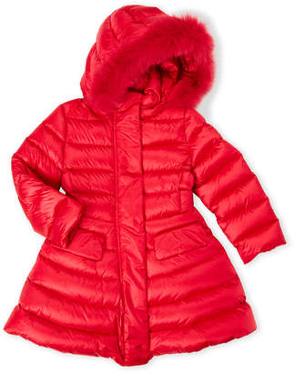 ADD Toddler Girls) Real Fur Trim Hooded Down Coat