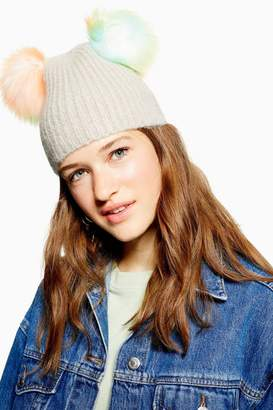 Topshop Grey Beanie With Multicoloured Faux Fur Pom