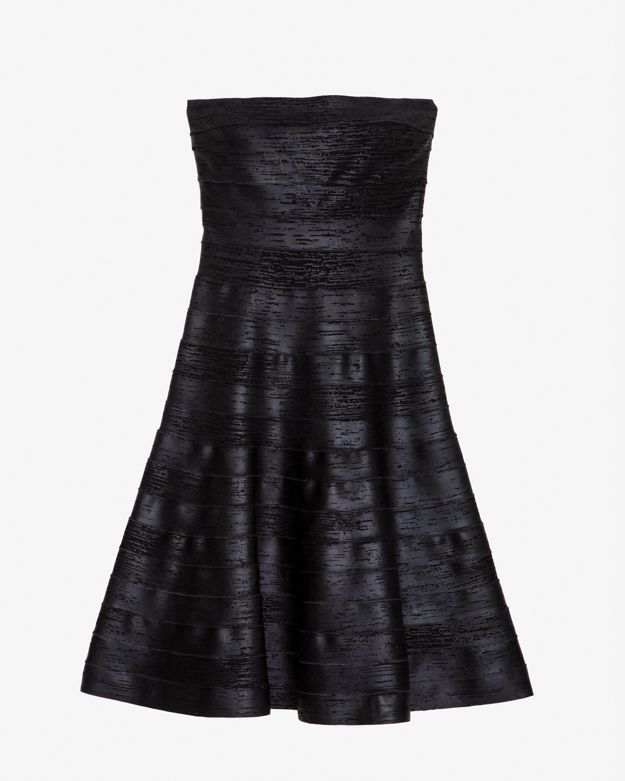 Herve Leger Exclusive Strapless A-line Foil Bandage Dress