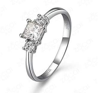 JeenJewels 0.58 Carat Three Stone Diamond Engagement Ring with Princess cut Diamond on 14K White gold