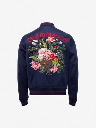 Alexander McQueen Embroidered Skull And Flower Bomber Jacket