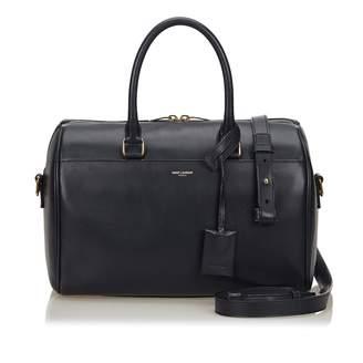 Saint Laurent Duffle Blue Leather Handbag