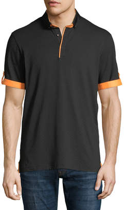 Maceoo Square Jersey Contrast-Trim Polo Shirt