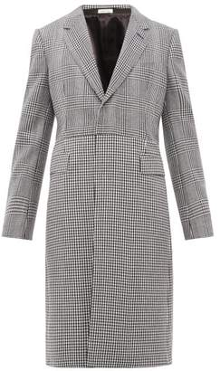Alexander McQueen Single Breasted Checked Wool Twill Overcoat - Mens - Black White
