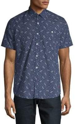 Point Zero Printed Slim-Fit Button-Down Shirt
