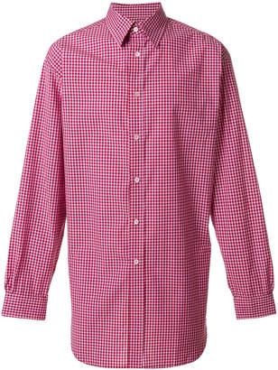 Raf Simons gingham gathered hem shirt