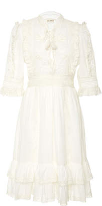 Ulla Johnson Madison Tied Ruffled Broderie Anglaise Cotton-Voile Dress
