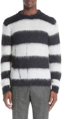 Saint Laurent Stripe Mohair Blend Crewneck Sweater