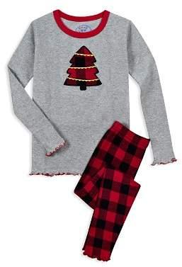 Sara's Prints Girls' Plaid Christmas Tree Pajama Shirt & Pants Set - Little Kid