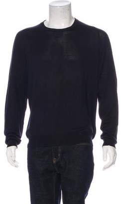 Maison Margiela Suede-Accented Crew Neck Sweater