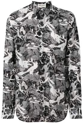 Saint Laurent Greek Fresco print shirt