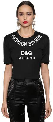 Dolce & Gabbana Fashion Sinner Printed Jersey T-Shirt