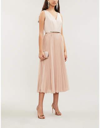 Max Mara Vorra embroidered sleeveless crepe midi dress