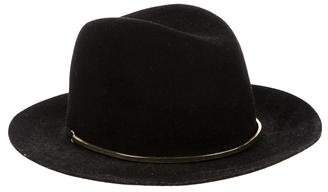 Janessa Leone Wool Leather-Trimmed Fedora