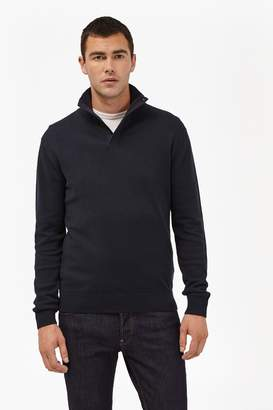 French Connenction Canvas Trim Half Zip Jumper