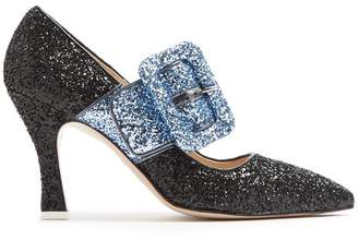 ATTICO The Elsa Bi Colour Glitter Pumps - Womens - Black Blue