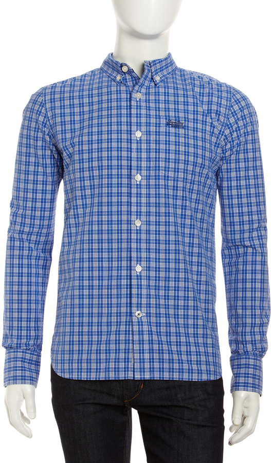 Superdry Fine Check Shirt, Lord Blue