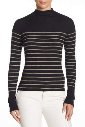 Vince Striped Rolled Mock Neck Cashmere Sweater