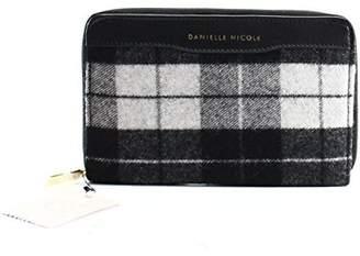 Danielle Nicole Womens Larsen Wool Plaid Zip Around Wallet Black O/S