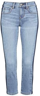 Banana Republic Petite Girlfriend Medium Wash Side Stripe Cropped Jean
