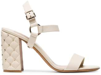 Valentino Ivory Rockstud Spike 90 Leather Sandals