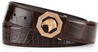 Stefano Ricci Crocodile Belt with Rose Golden Eagle Buckle