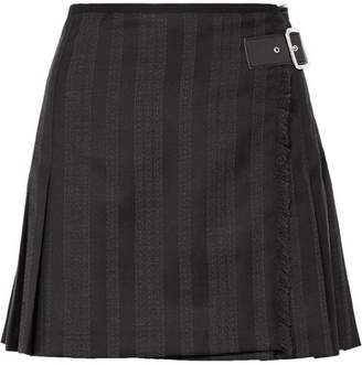 McQ Wrap-effect Striped Wool-blend Jacquard Mini Skirt - Black