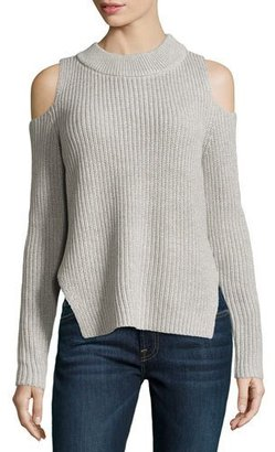 French Connection Cold-Shoulder Melange Sweater, Light Gray $98 thestylecure.com